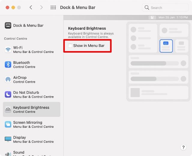 hiển thị trong thanh menu