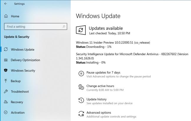 windows  11 bản dựng xem trước nội bộ