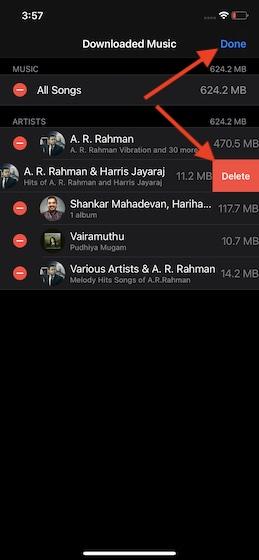 Xóa các bài hát cụ thể trên iOS