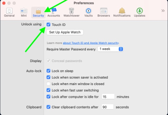 Thiết lập Touch ID trong 1Password cho Mac