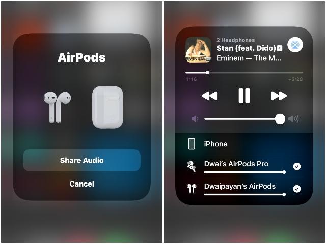 cách chia sẻ âm thanh airpods
