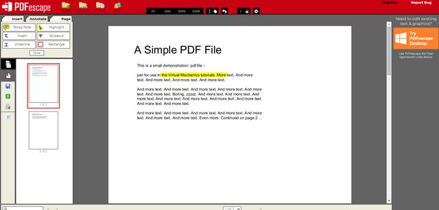 trình chỉnh sửa trực tuyến pdfescape