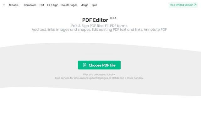 giao diện máy tính pdf sejda