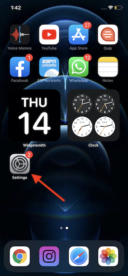 Khởi chạy ứng dụng Cài đặt trên iPhone của bạn
