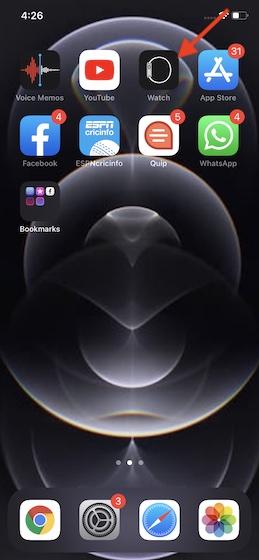 Khởi chạy ứng dụng Watch trên iPhone
