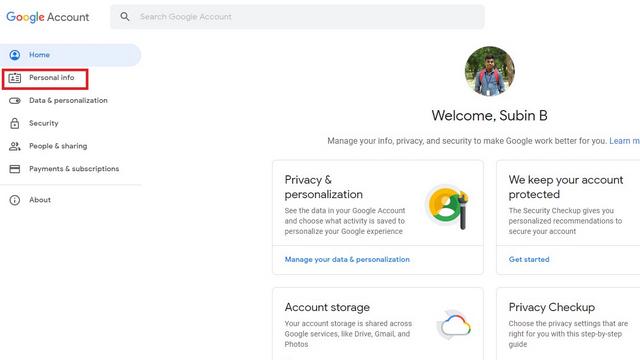 thông tin cá nhân tài khoản google