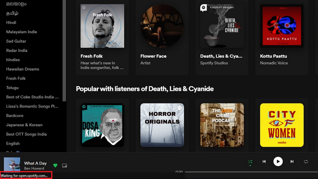 thanh trạng thái trên Spotify pwa