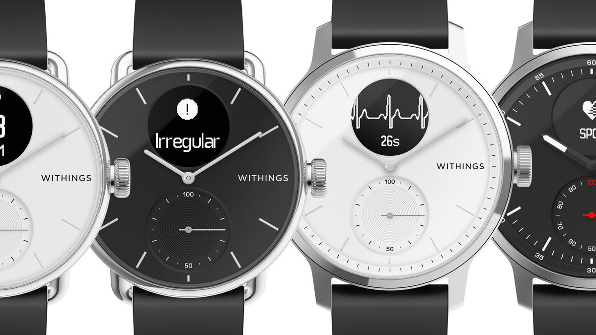 Đồng hồ quét Withings trên nền đen.  Nó có một mặt đồng hồ lai, với kim đồng hồ và một màn hình nhỏ tích hợp.