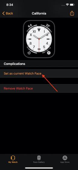 Thiết lập như Apple Watch đối mặt
