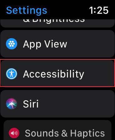 Nhấn vào Hỗ trợ tiếp cận bật Apple Watch