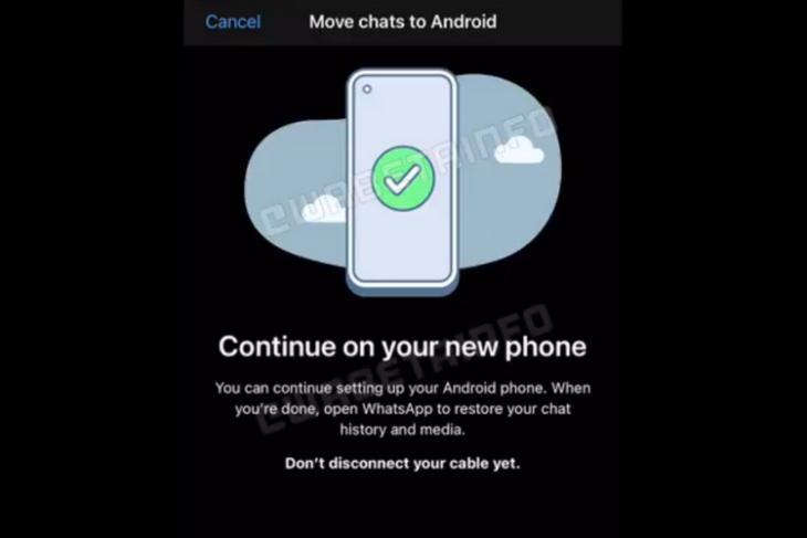 WhatsApp có thể muốn bạn kết nối thiết bị bằng cáp để di chuyển trò chuyện